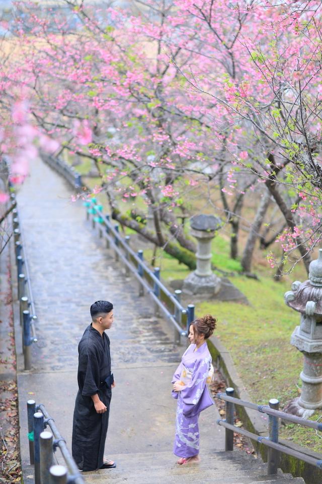 《2月》真っピンクの桜が素敵♡ゆかたフォトウェディング