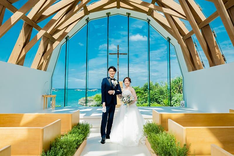 きれいな空、海、大好きなゲストに囲まれて最高の1日を過ごすことが出来ました!瀬良垣島教会のチャペルウェディング♡
